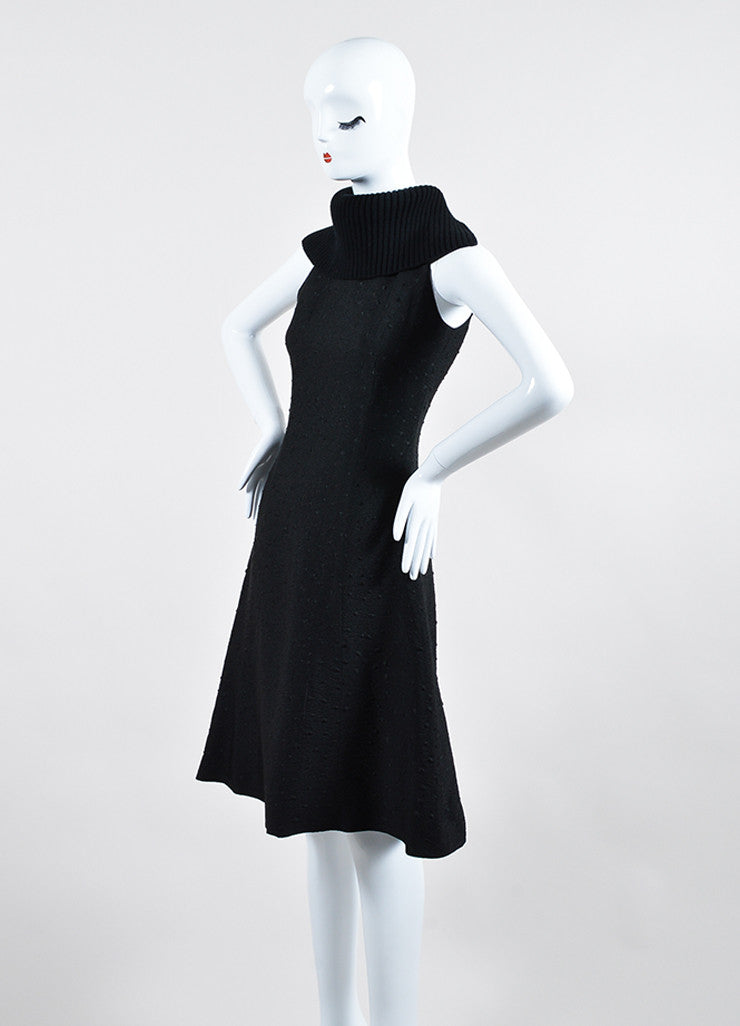 Black Sally Lapointe Textured Silk and Wool Turtleneck Sleeveless Swing Dress Sideview