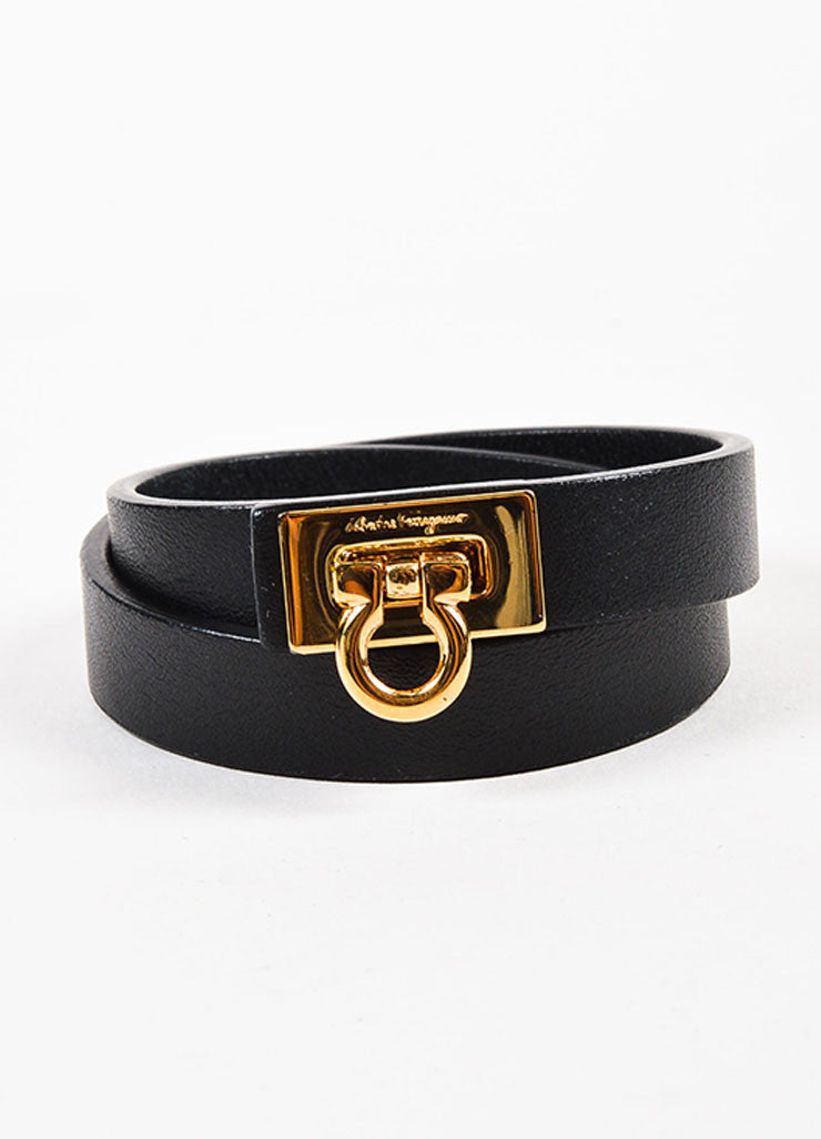 "Salvatore Ferragamo Black and Gold Toned Leather ""Gancini"" Double Wrap Bracelet Frontview"