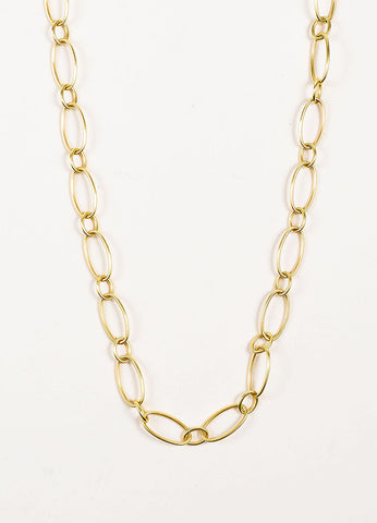 Sidney Garber 18K Yellow Gold Oval Link Convertible Chain Necklace Detail