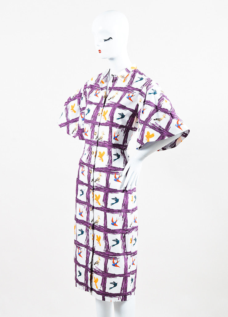 "Stella Jean White and Purple Bird ""Sommelier Chemisier"" Shirt Dress Sideview"