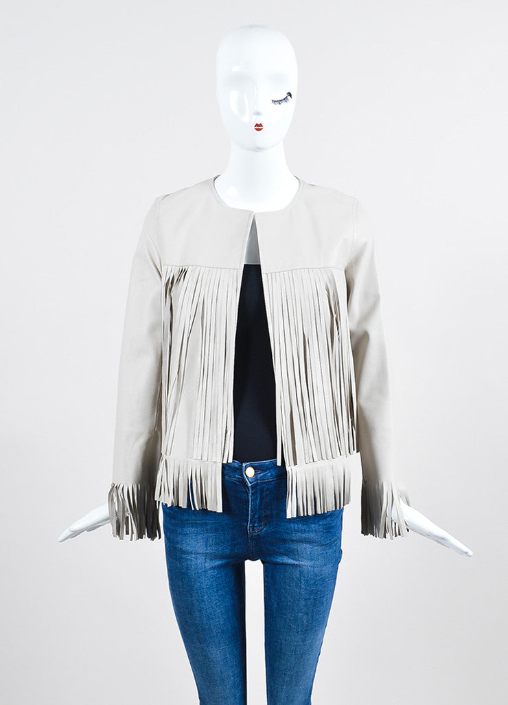 "The Perfext Taupe Grey Leather Fringe ""April"" Jacket Frontview"