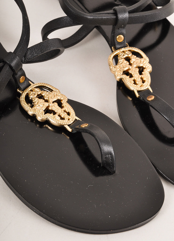 "Thomas Wylde New In Box Black and Gold Toned Skull ""Stand & Deliver"" Sandals Details"