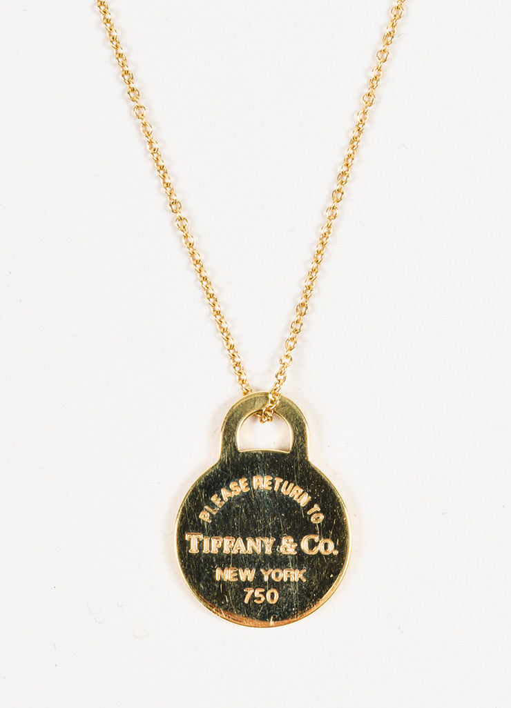 "Tiffany & Co. 18K Yellow Gold ""Return to Tiffany"" Circle Pendant Necklace Detail"