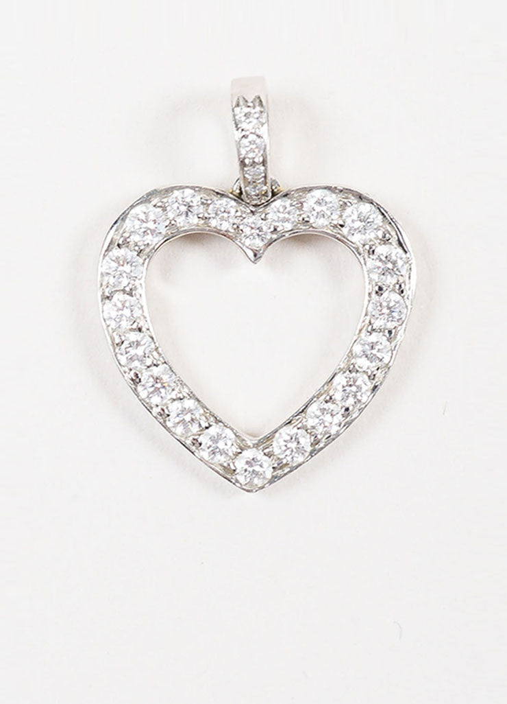 Tiffany & Co. Platinum Pave Diamond Open Heart Pendant Frontview