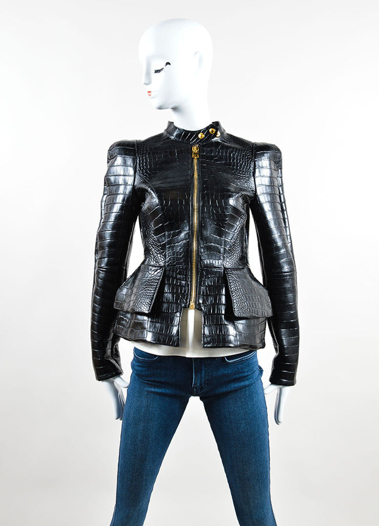 "Tom Ford Black Crocodile Leather Peplum ""Scuba"" Moto Jacket Frontview 2"