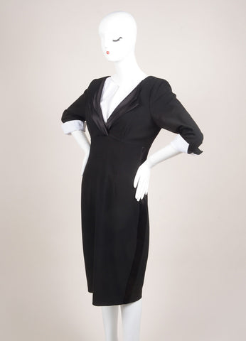 Twilley Atelier New With Tags Black and White Crepe Silk Long Sleeve Sheath Dress Sideview
