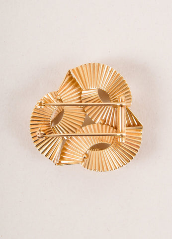 Cartier 14K Gold Triple Wave Pin Brooch Backview