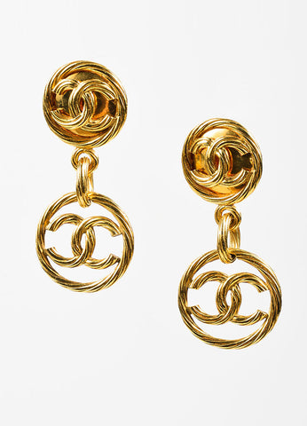 Gold Toned Chanel Ribbed 'CC' Logo Circle Drop Clip On Earrings Frontview