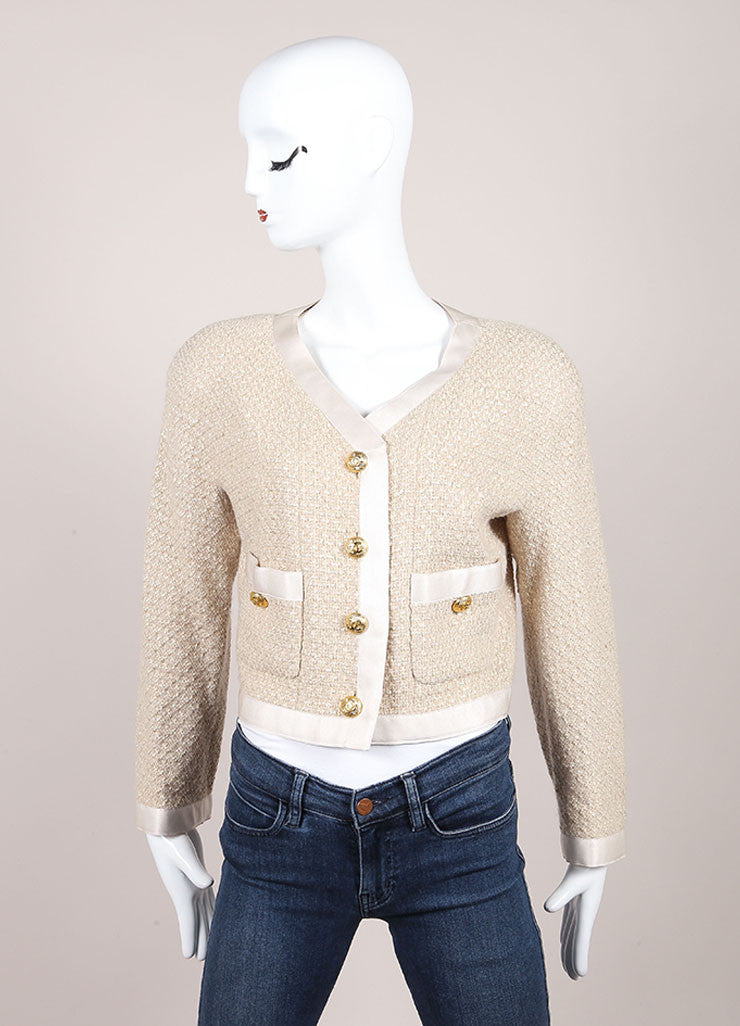 "Chanel Beige Wool and Silk Textured Knit ""CC"" Button Jacket Frontview"