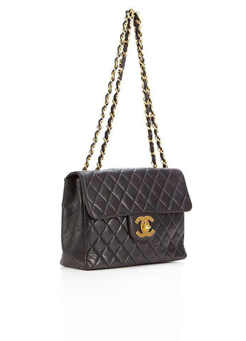 Chanel Black Lambskin Leather 'CC' XL Jumbo Flap Bag Sideview
