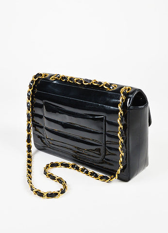 Chanel Black Patent Leather Horizontal Stitch Quilted Gold Toned Flap Bag Sideview