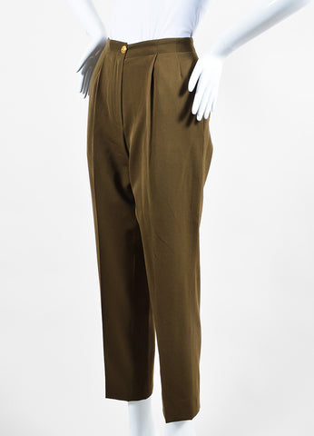 Chanel Green Wool High Rise Straight Leg Trousers Sideview