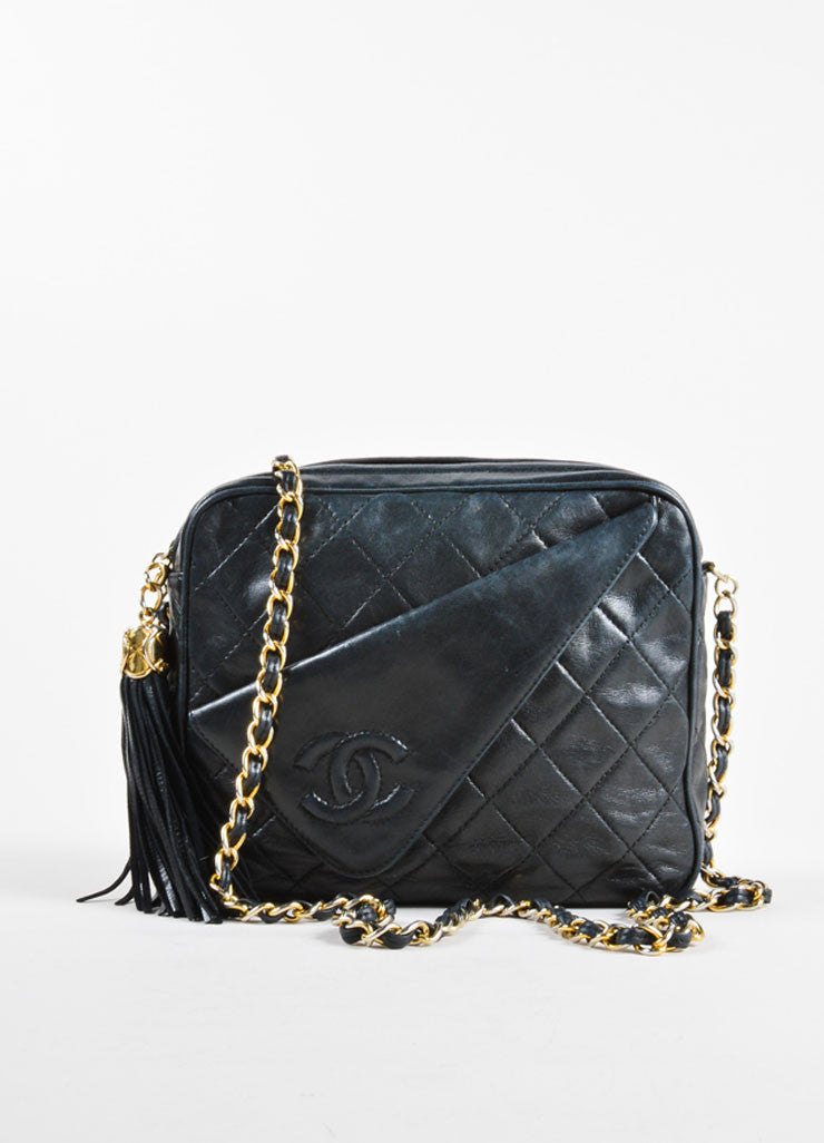 Vintage Chanel Black Leather Quilted Cross Body Bag Front