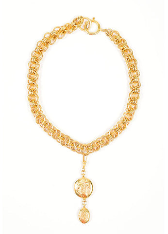 Gold Toned Chanel 'Coco' Figure Removable Pendant Charm Chain Necklace Frontview
