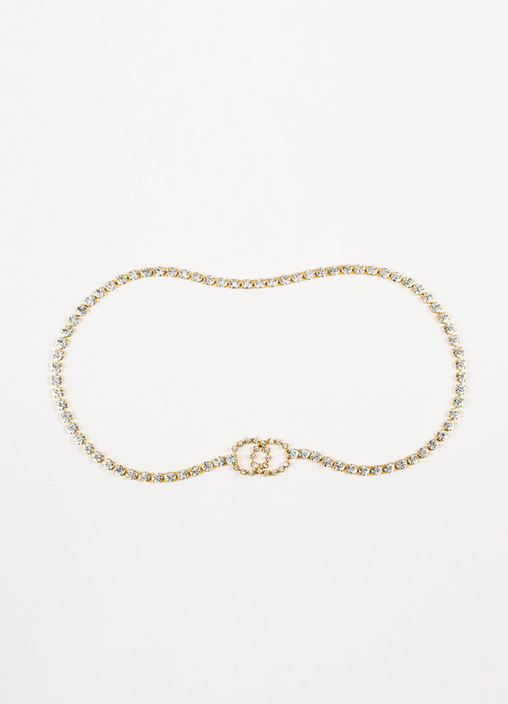 Chanel Gold Toned Crystal Rhinestone 'CC' Body Chain Belt Frontview