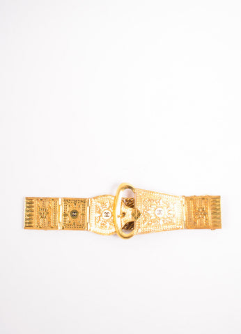 "Chanel Gold Toned Metal ""CC"" Oversized Plate Panel Chain Link Belt Frontview"