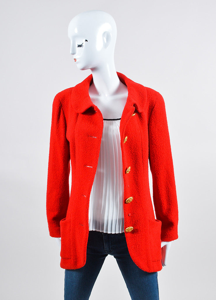 Red Chanel Wool Boucle Tailored Jacket Frontview