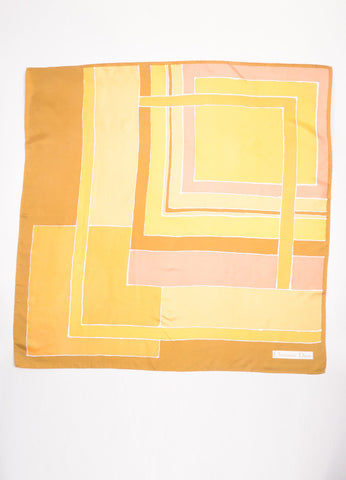 Christian Dior Brown, Orange, and Yellow Block Print Silk Square Scarf Frontview