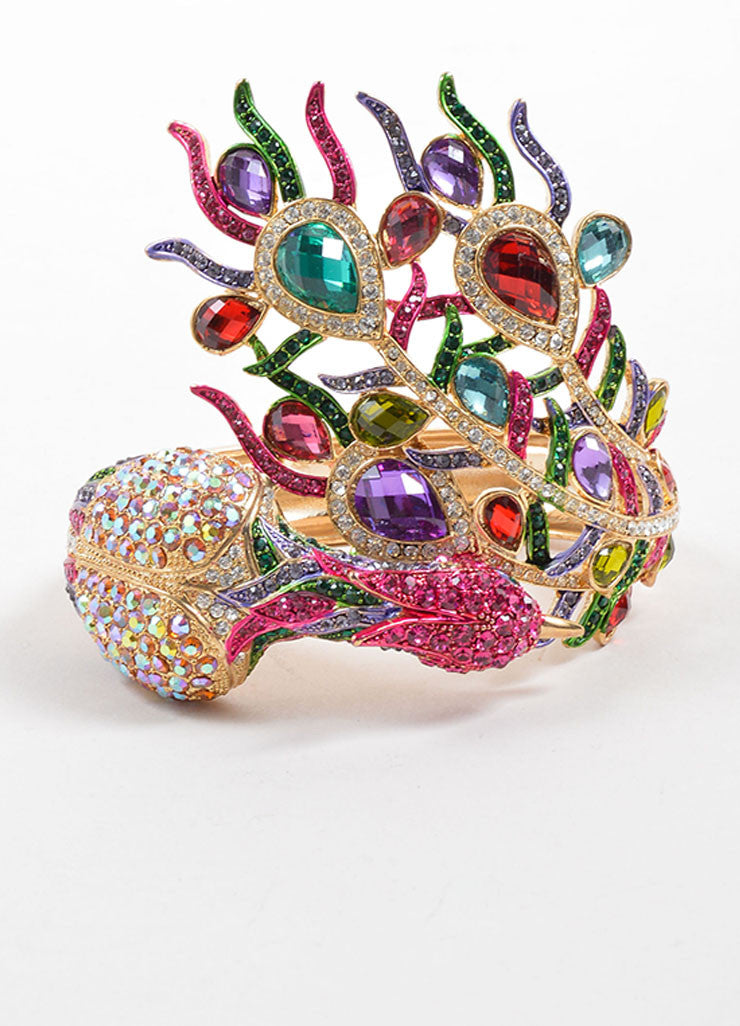 Vintage Gold Toned and  Multicolor Rhinestone Embellished Peacock Bangle Bracelet Frontview