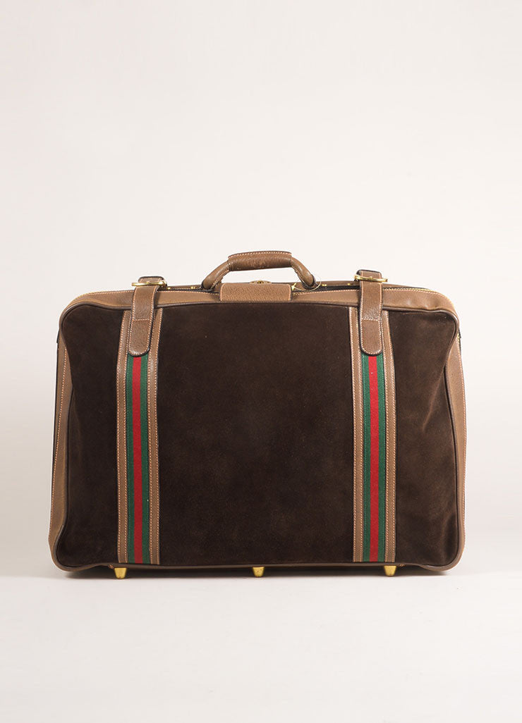 Gucci Brown Suede Leather Classic Striped Zip Around Luggage Bag Frontview