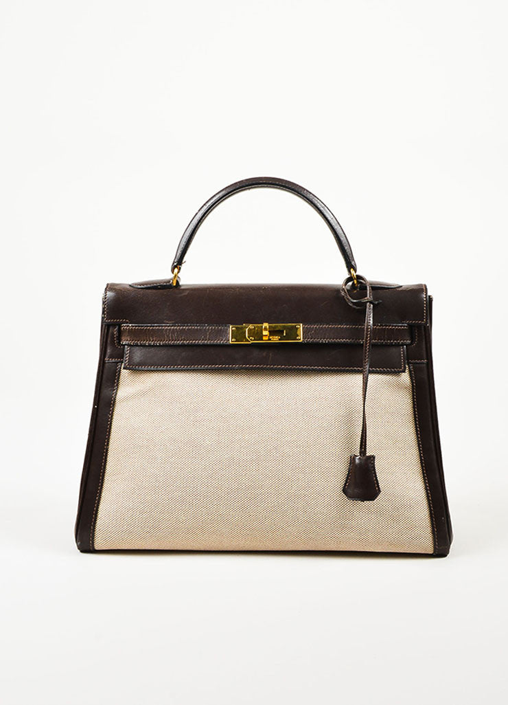 "Hermes Brown and Beige Toile Canvas and Leather ""Kelly"" Bag Frontview"
