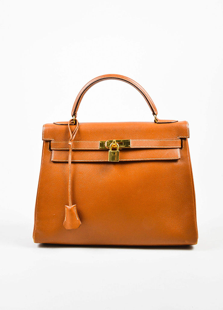 "Hermes GHW Cognac Brown Veau Grain Lisse Leather 32 cm ""Kelly"" Handbag Frontview"