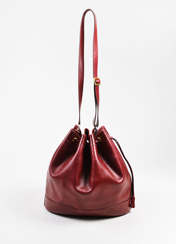 "Hermes Maroon Box Calf Leather ""Market 27cm"" Drawstring Bucket Bag Frontview"