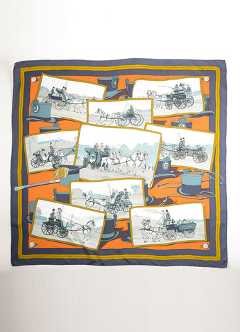 Hermes Orange and Multicolor Silk Twill Horse and Buggy Print Scarf Frontview