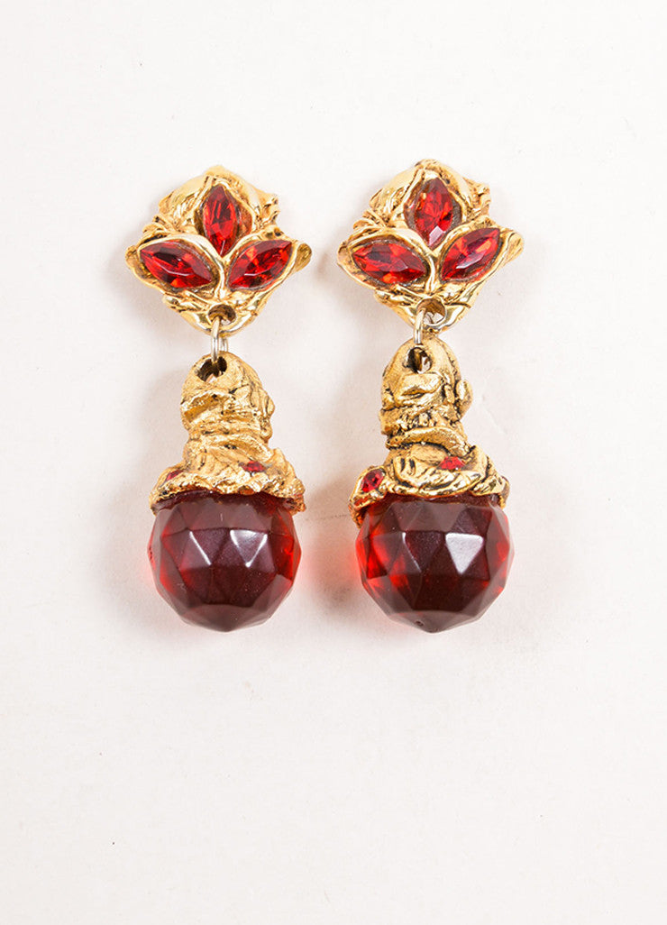 Kalinger Gold Toned and Red Beaded Statement Dangle Earrings Frontview