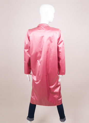 Karl Lagerfeld for Chloe Pink Shiny Oversized Pocket Trench Coat Backview