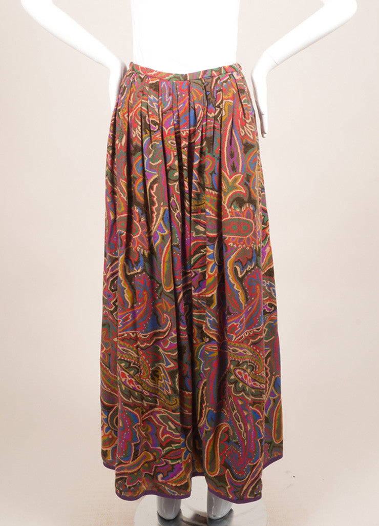 Lanvin Red, Blue, and Brown Floral Paisley Maxi Skirt Frontview