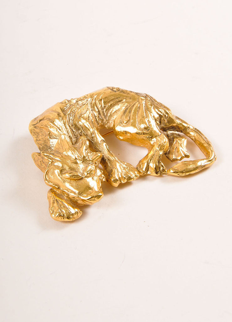 Scherrer Gold Toned Prowling Wolf Pin Brooch Sideview