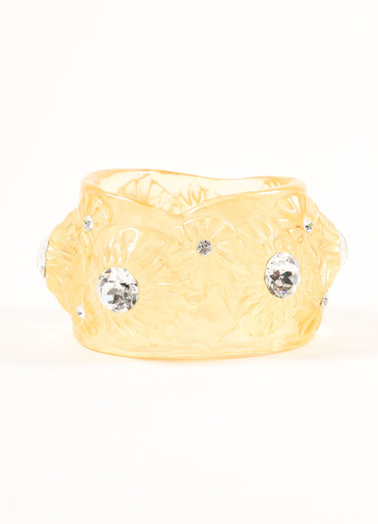 Vintage Yellow Lucite Translucent Rhinestone Wide Floral Bangle Bracelet Frontview