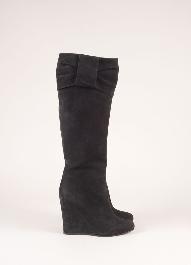 Valentino Black Suede Leather Knee High Wedge Boots Sideview