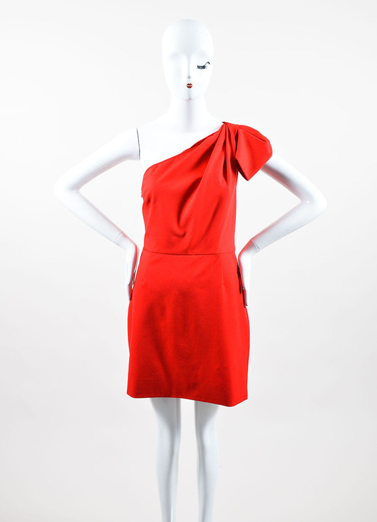 Red Woven Valentino Couture One Shoulder Short Dress Front
