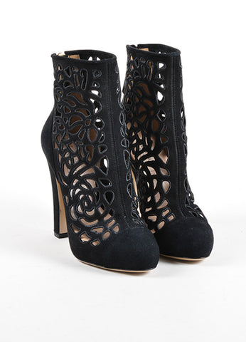 Valentino Garavani Black Suede Leather Laser Cut Floral High Heel Booties Frontview