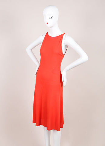 Valentino Roma Coral Orange Textured Jersey Knit Sleeveless Dress Sideview