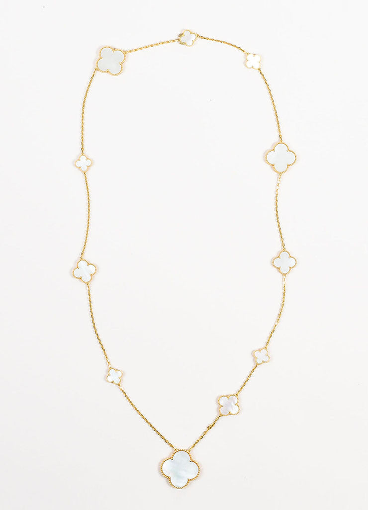 "Van Cleef & Arpels 18K Gold Mother Of Pearl ""Magic Alhambra"" 11 Motifs Necklace Frontview"