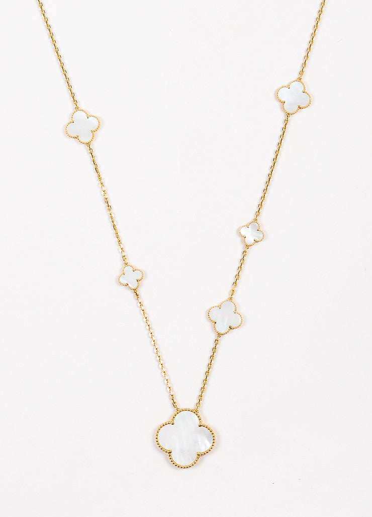 "Van Cleef & Arpels 18K Gold Mother Of Pearl ""Magic Alhambra"" 11 Motifs Necklace Detail"