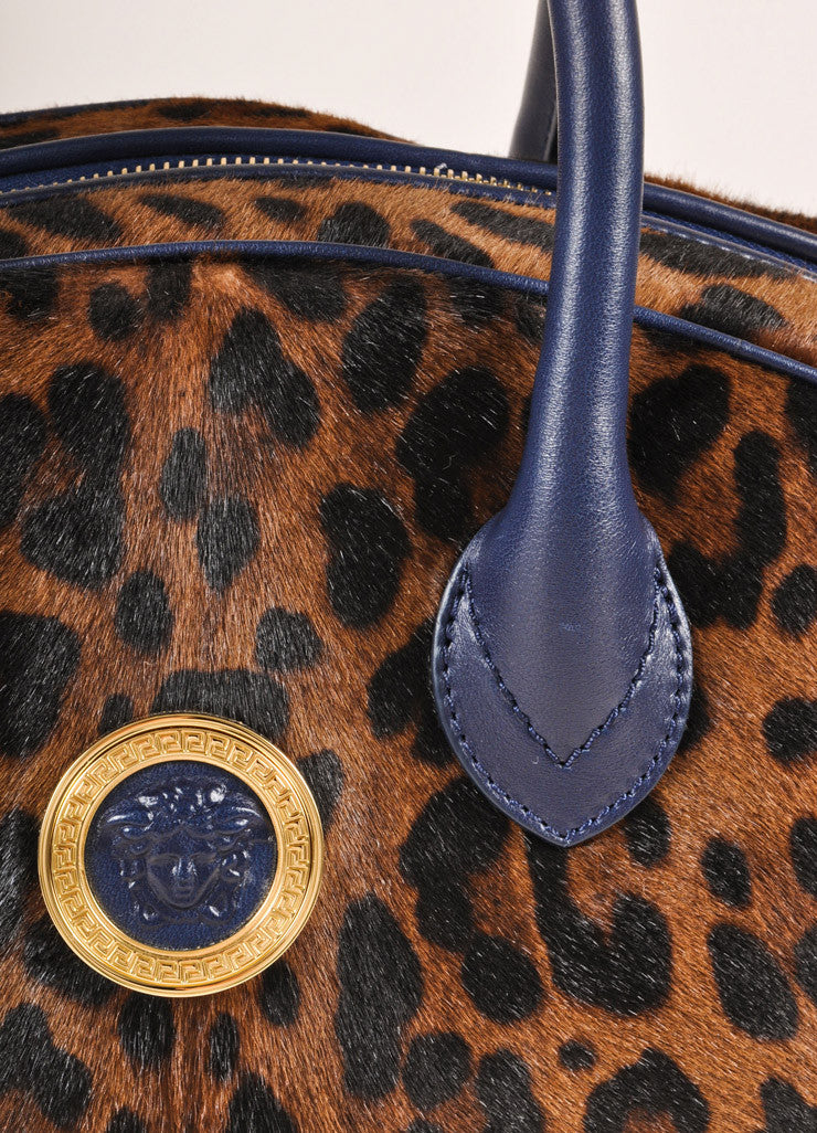 Versace Black and Brown Leopard Print Pony Hair Bowler Bag Detail 2