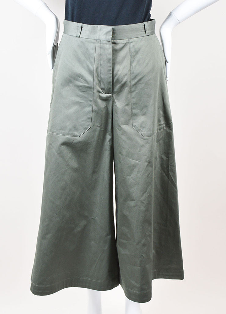 "Vilshenko Khaki Green ""Tara"" Cotton Flared Leg Culottes Pants Frontview"