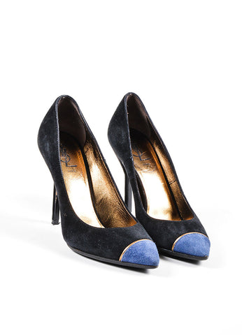 Black and Blue Yves Saint Laurent Suede Pointed Cap Toe High Heels Frontview