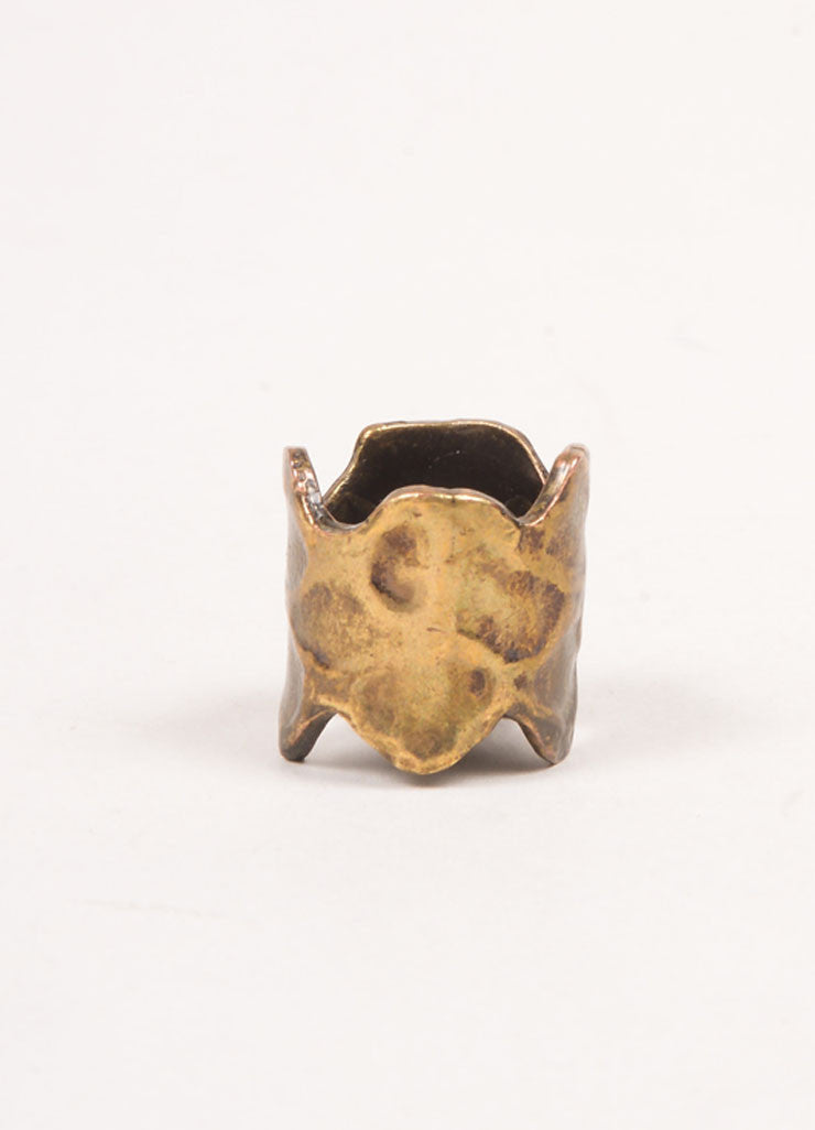 Yves Saint Laurent Gold Toned Hammered Oversized Cuff Ring Frontview