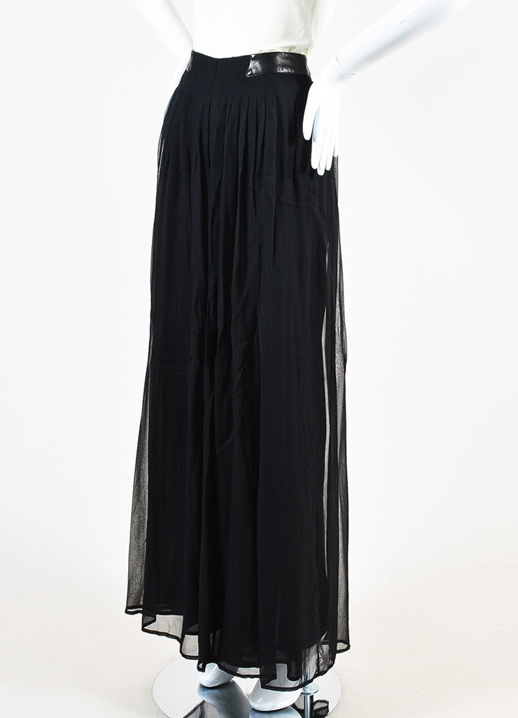 Rag & Bone Black Silk and Leather Sheer Wide Leg Trousers Pants Sideview