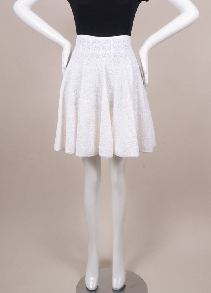 Alaia Cream Knit Pleated Skater Skirt Frontview