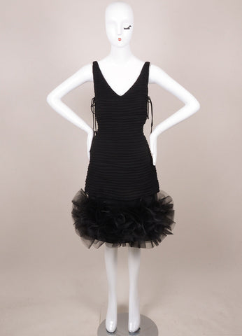 Black Silk Pleated Sequin Structure Ruffle Cocktail Dress