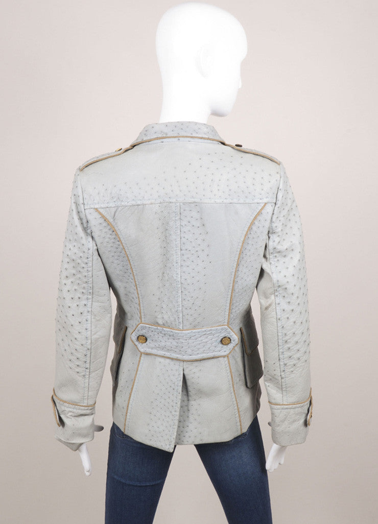 Dolce & Gabbana New With Tags Blue Ostrich Leather Button Detail Military Jacket Backview