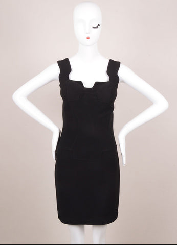 Thierry Mugler Black Cut Out Padded Sleeveless Dress Frontview
