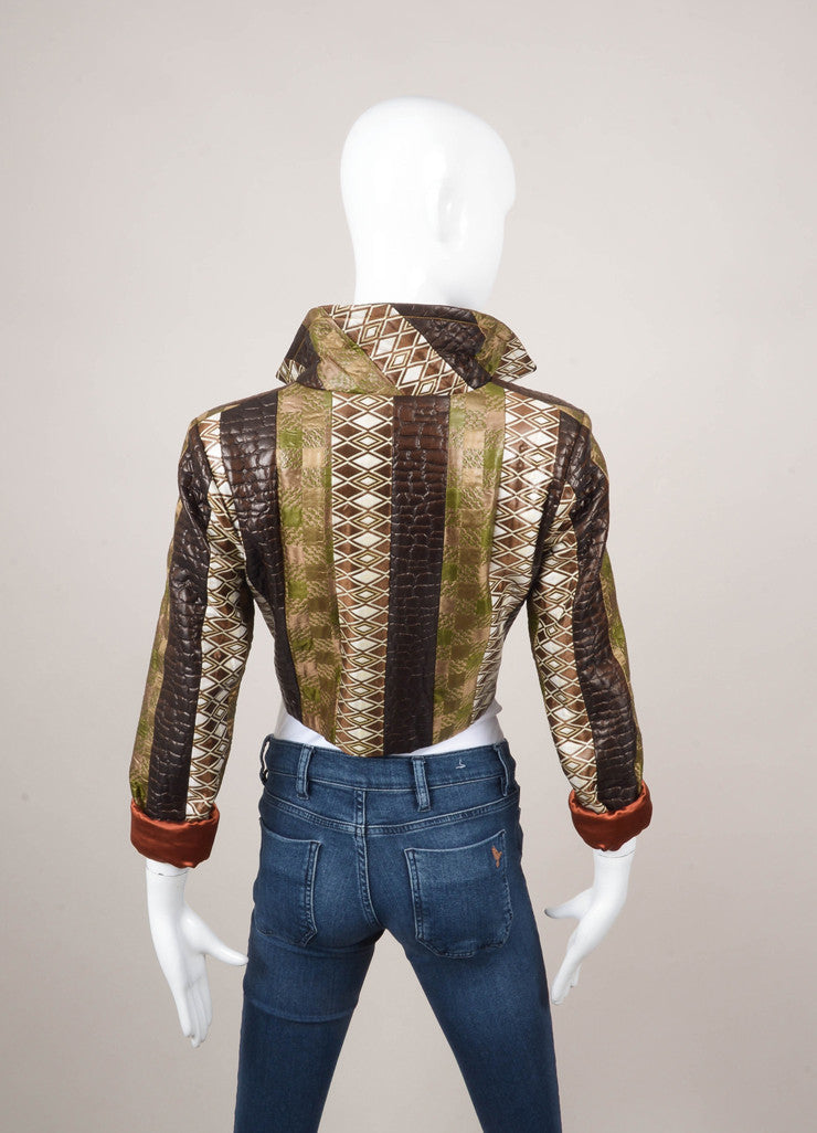 Green, Brown, and White Silk Printed Long Sleeve Cropped Jacket