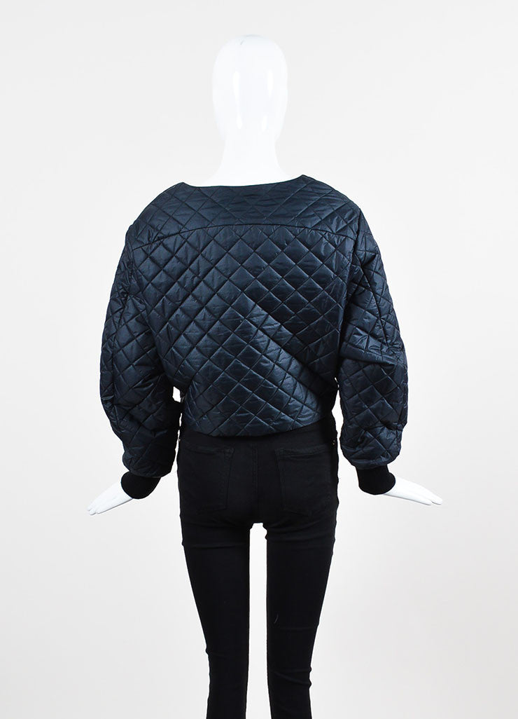 Acne Studios Navy Nylon Quilted Long Sleeve Scoop Neck Cropped Top Backview